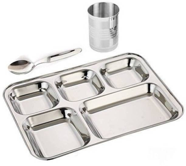 SteelTop Stainless Steel BhojanThali 1 Plate, 1 Spoon, 1 Glass Plate, Bowl, Spoon Serving Set