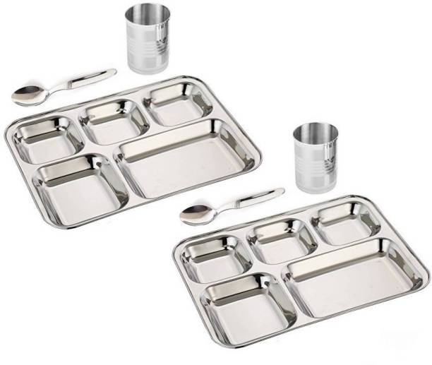ButterSpoon 5 in1 Round Extra Deep Compartment Divided Plate, Thali, Bhojan Thali, Mess Tray, Dinner Plate Set Kitchen & Dining Diwali Gifts Accessories Set of 60 ( Tray 2, Spoon 2, Glass 2) Tray Serving Set