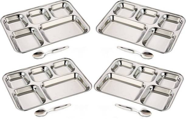 ButterSpoon 5 in1 Round Extra Deep Compartment Divided Plate, Thali, Bhojan Thali, Mess Tray, Dinner Plate Set Kitchen & Dining Diwali Gifts Accessories Set of 4 Piece with 4 Spoon Tray Serving Set