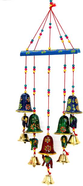 Craft Junction Handcrafted Rajasthani Bell Elephant Design Wall Hanging Decorative Decorative Showpiece  -  45 cm