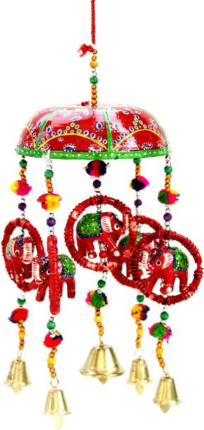Craft Junction Handcrafted Rajasthani Bell Elephant Design Wall Hanging Decorative Decorative Showpiece  -  41 cm