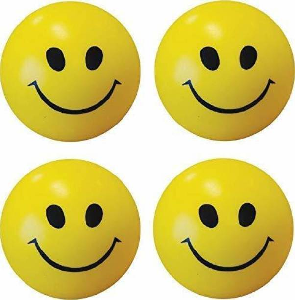 SHARMA BUSINESS Smiley Face Squeeze Ball (Yellow) ( Set of 3) extra soft  - 60 mm