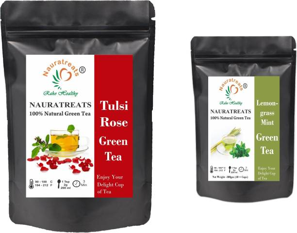Nauratreats Tulsi Rose Green Tea Loose Leaf (100g) For Immunity Boost and Healthy glowing Skin & Lemongrass Green Tea for Weight Loss (100g) Tea Pack of 2 ((100gm X 2) Tulsi, Rose, Peppermint, Lemon Grass, Mint Green Tea Pouch