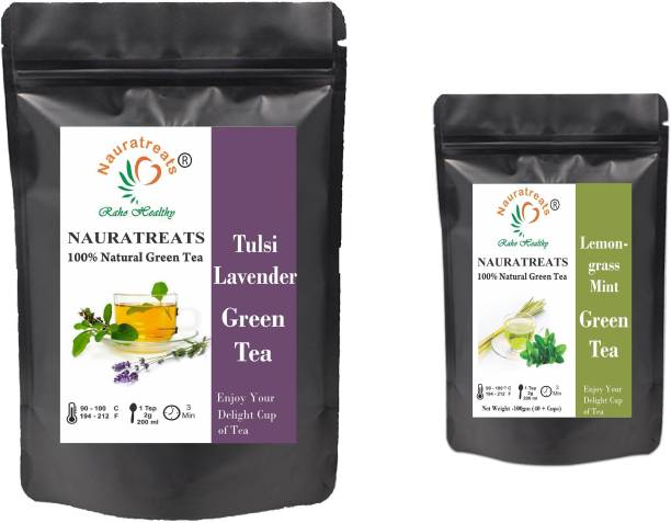 Nauratreats Tulsi Lavender Green Tea Loose Leaf 100 gm For Immunity Boost and Healthy glowing Skin & Lemongrass Green Tea for Weight Loss (100g) Tea Pack of 2 ((100gm X 2) Tulsi, Lavender, Mint, Lemon Grass Green Tea Pouch