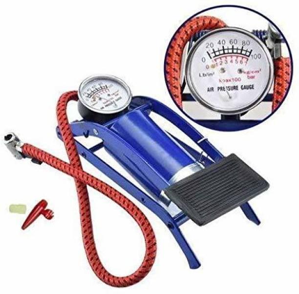 Global Mart Portable High Pressure Foot Pump/Air Tyre Inflator/Pump Compressor Tubeless Tyre Puncture Repair Kit