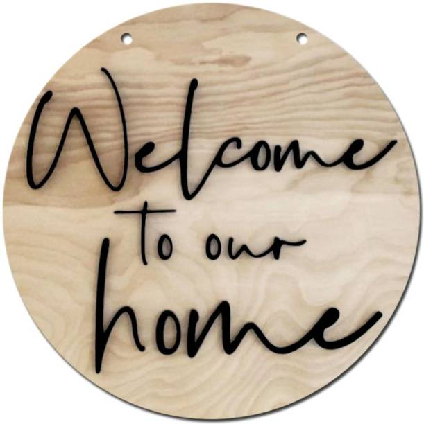 SHRADDHA SABURI ARTWORK Tin Sign_Welcome, Welcome-to-our-home (10.5 inch X inch 10.5, Beige) Sign