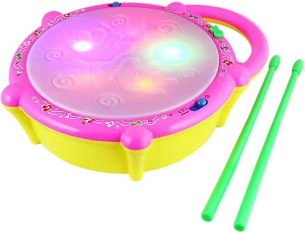 VS Toy Multicoloured Flash Drum With 3D Lights & Music(Multicolor)