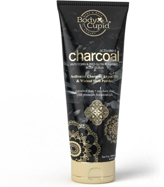 Body Cupid Activated Charcoal Face and Body scrub with Argan Oil - 200 mL Scrub