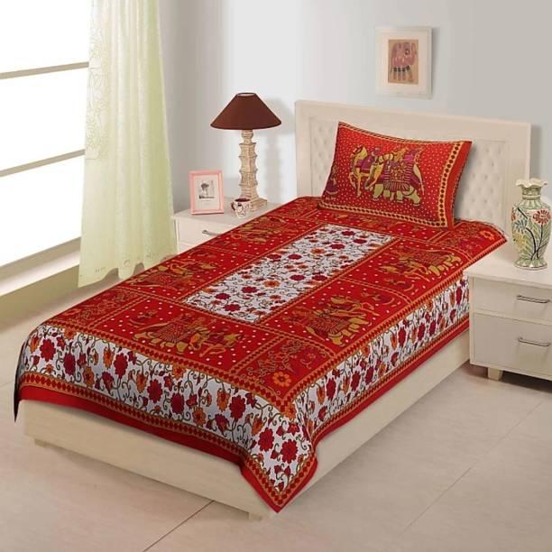 Lomoniya 144 TC Cotton Single Jaipuri Prints Bedsheet