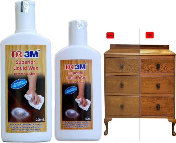 dr.3m DR3M RSSJ338-Superior Liquid Wooden Wax Polish 100ml + 200ml wooden wax polish Combo Pack (Removes Stains and Restores Shine)