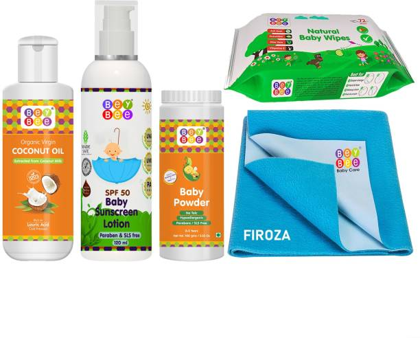 BeyBee Baby Care Kit With Sunscreen lotion for Babies 120ml & Baby Aloe vera Cucumber wipes-72 wipes & Coconut Baby Oil-100ml & Baby Powder for Babies-100gm & Baby waterproof Dry sheet for kids ,Small.Firoza