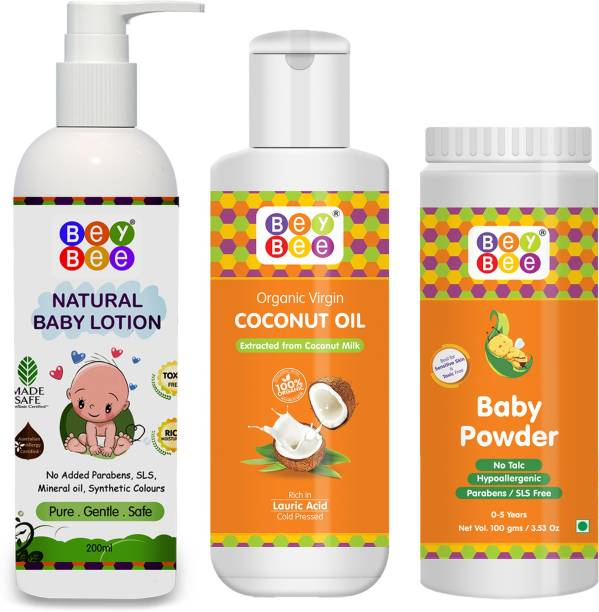 BeyBee Baby Care Kit With Natural Lotion for Babies-200ml &Coconut Baby Oil-100 ml & Baby Powder for kids-100gm