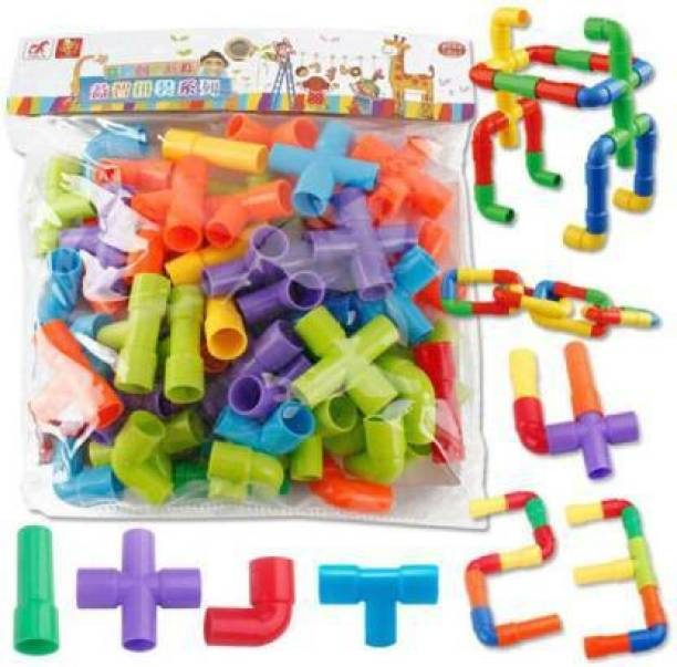 Smartcraft Tubular Spout Construction Building Blocks Set, Fun Educational STEM Building Construction Toys with Wheels And Parts. PIPE CONSTRUCTION AND CREATIVITY MAKING PIPE BLOCKS. (Multicolor)