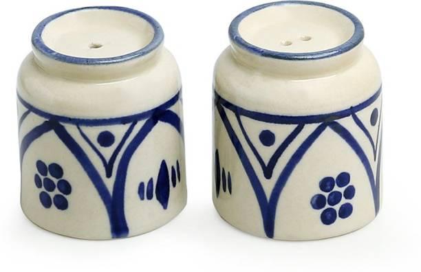 ExclusiveLane 'Moroccan Floral Martban' Hand-painted Studio Pottery 2 Piece Salt & Pepper Set