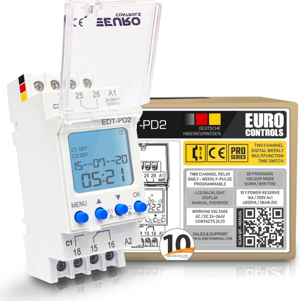 Euro Controls EDT-PD2 German - 2 Independent Channel Timer - 24 to 265 V AC / DC - LCD Backlit - 80 Programs Daily/Weekly/Pulse/Holiday modes - Battery Reserve Programmable Electronic Timer Switch