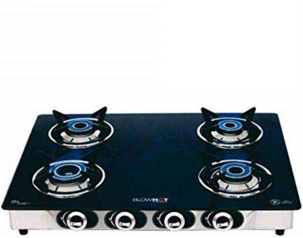 BlowHot Auto Ignition Heavy Brass 4 Burner Stove | Toughened Glass Cooktop - Stainless Steel Frame Glass, Cast Iron Automatic Gas Stove