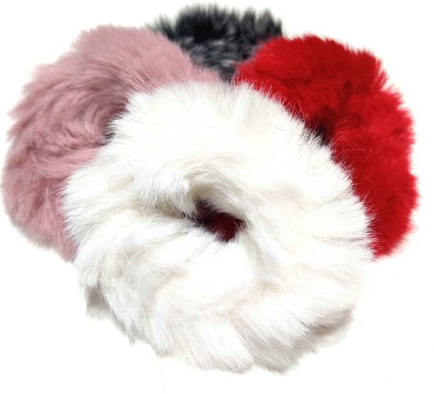 pretty Charming Fur Elastic Fluffy Faux Rope Furry Ring Hair Band Girls -4 Pieces Rubber Band Rubber Band (Multicolor) with a surprised freebie Rubber Band