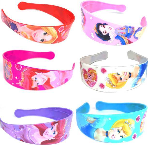 NANDANA COLLECTIONS Disney Princess Barbie Hair Band Combo Of Rainbow Colors Big Durable and Wide For Party wear, Daily use, Hair Band, Head Band, for Women/Girls (Pack of 6) Hair Band (Multicolor), Blue, Purple, Red, White, Pink, Dark Pink Hair Band (Multicolor) Hair Band
