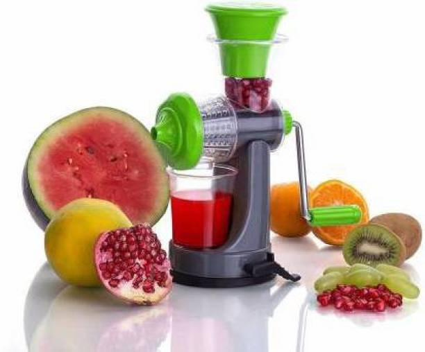 Lucifer Plastic Hand Juicer Multi Purpose Plastic Non-Electric Manual Vacuum Locking System Travel All Fruit and Vegetable Juicer Machine with Steel Handle(multi color)
