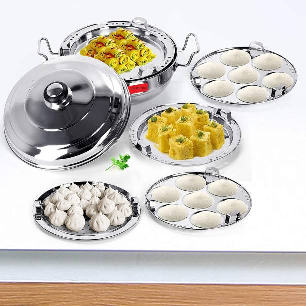 3D METRO SUPER STORE Stainless Steel Induction Bottom Multi Kadai with 5 plates Induction & Standard Idli Maker