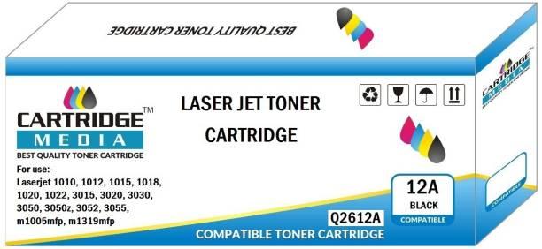 CARTRIDGE MEDIA 12A COMPATIBLE FOR HP Q2612A TONER CARTRIDGE FOR HP Laserjet - 1010, 1010w, 1012, 1015, 1018, 1020, 1022, 1022n, 1022nw, M1005 MFP, M1319f MFP, 3015, 3020, 3030, 3050, 3050z, 3052, 3055 Black Ink Toner