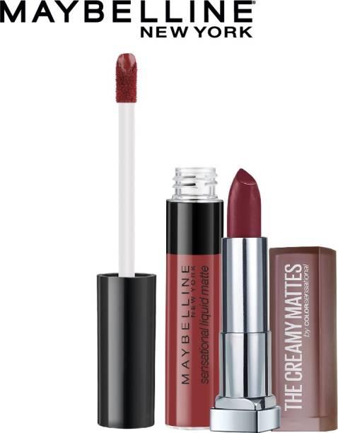 MAYBELLINE NEW YORK Creamy Matte Lipstick, 696 Burgundy Blush + Sensational Liquid Matte Lipstick, 11 Made Easy