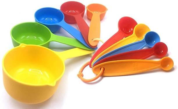 INKULTURE Plastic Premium Baking Measurement Measuring Cups and Spoons Set (Pack of 10) Multicoloured Measuring Cup Set
