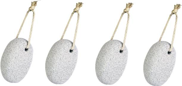 CartKing PUMICE STONE SCRUBBER For Body and Foot - Oval Shape, White- PACK OF 4