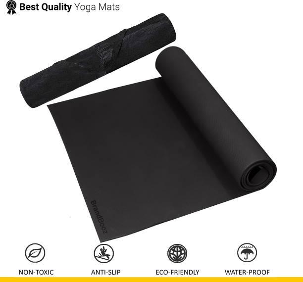 BrandBooz Anti Slip 4mm Yoga/Exercise & Gym Mat with Cover/Carry Bag for Men, Women & kids Black 4 mm Yoga Mat