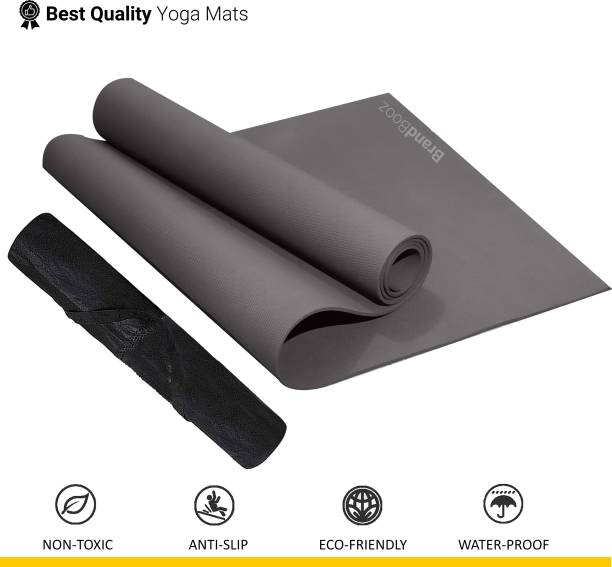 BrandBooz Anti Slip 4mm Yoga/Exercise & Gym Mat with Cover/Carry Bag for Men, Women & kids Grey 4 mm Yoga Mat