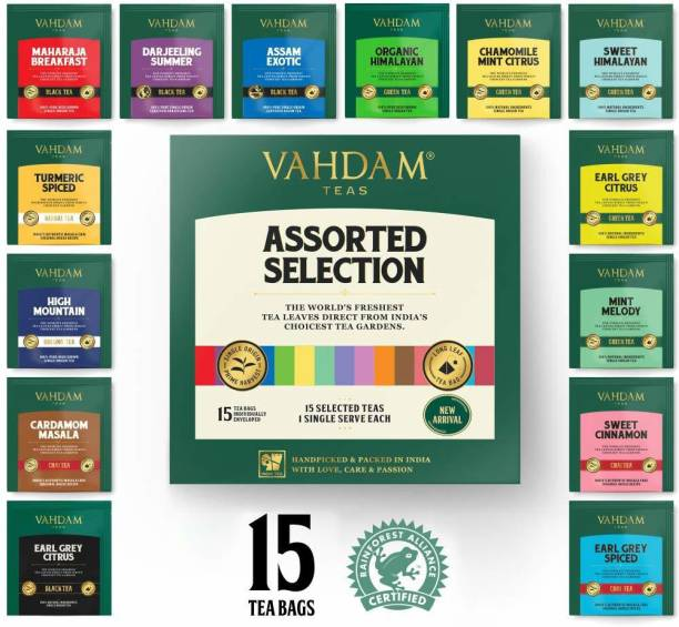Vahdam 15 Premium Teas Sampler Trial Pack Chamomile, Cinnamon, Cardamom Black Tea Bags Box