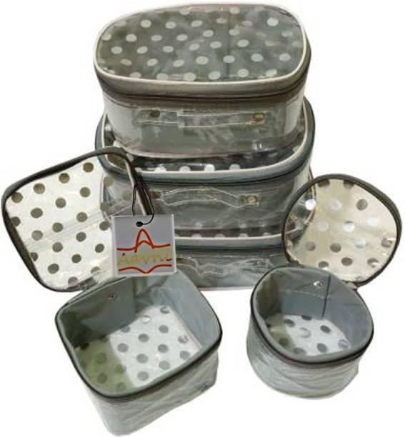 Aavni 5set polka dot makeup cosmetics organiser necklace, jewellery makeup box saving kit storage Vanity Box