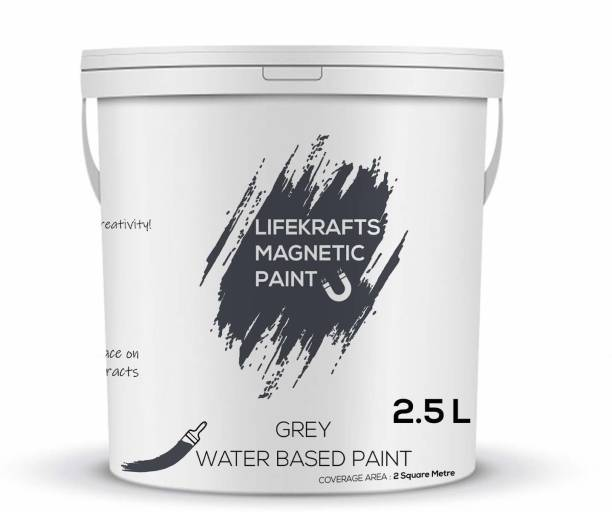 Lifekrafts Magnetic Receptive Wall Paint/Grey Water Based Paint(2.5 Liter) Grey Functional Wall Paint