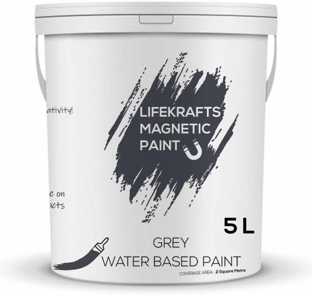 Lifekrafts Magnetic Receptive Wall Paint/Grey Water Based Paint(5 Liter) Grey Functional Wall Paint