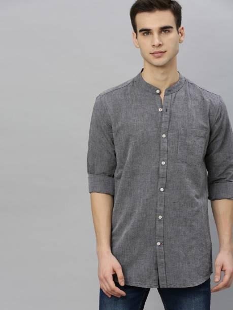 MAST & HARBOUR Men Solid Casual Grey Shirt