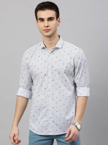 MAST & HARBOUR Men Printed Casual White Shirt