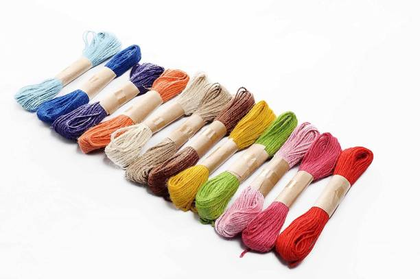 Delush Multi-Coloured Jute Thread Twisted Rope for DIY Art and Craft Projects and Decoration (12 Pieces of 5mtr Each)