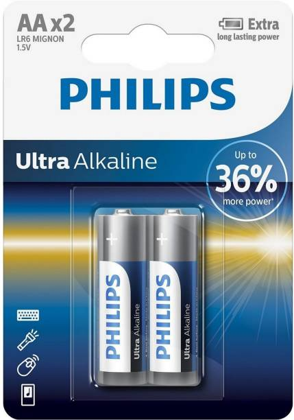 PHILIPS Ultra Alkaline AA Batteries, Pack of 2  Battery