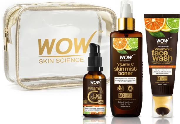 WOW SKIN SCIENCE Radiance Booster Travel Essentials with Vitamin C Serum + Vitamin C Mist Toner + Vitamin C Foaming Face Wash GEL with Built-In Face Brush
