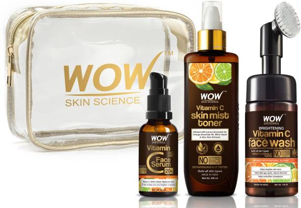 WOW SKIN SCIENCE Ultra-Hydration Travel Essentials with Vitamin C Serum + Vitamin C Mist Toner + Vitamin C Foaming Face Wash with Built-In Face Brush
