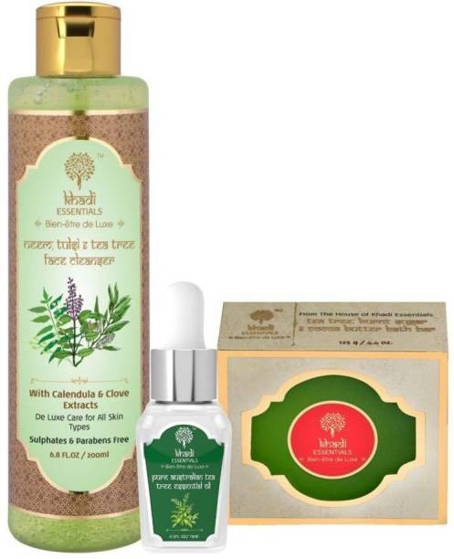 Khadi Essentials Combo of Tea Tree Face Wash 200ml + Tea Tree Essential Oil 15ml + Tea Tree Essential Oil Soap 125 gm for Skin Acne and Facial Glow