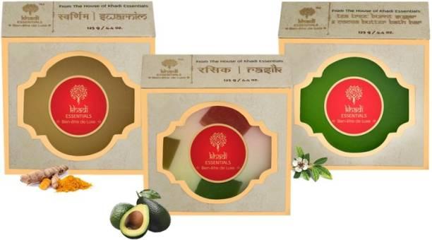 Khadi Essentials Combo of Turmeric Soap 125gm + Vitamin C Rich Fruity Soap 125gm + Tea Tree Essential Oil Soap 125 gm for Skin Whitening and Nourishment