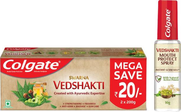 Colgate Vedshakti Toothpaste - 400gmand Vedshakti Mouth Protect Spray - 10gm
