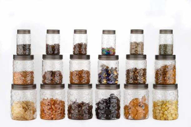 BONIRY 18 Pc Plastic Checkers/Container/Canister/Pet Jars Set, 350 ML, 650 ML, 1200 ML(CLEAR)  - 350, 650, 1200 Plastic Grocery Container