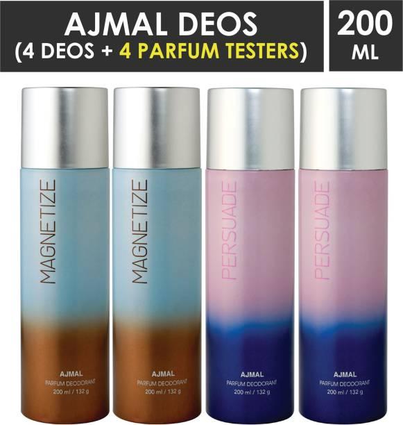 AJMAL 2 Magnetize & 2 Persuade Deodorant Combo pack of 4 High Quality Deodorant 200ml each (Total 800ML) for Men & Women + 4 Parfum Testers Deodorant Spray  -  For Men & Women