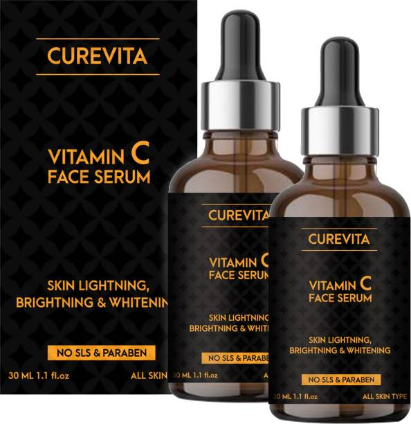 Curevita Vitamin C Serum for face with Hyaluronic acid, Ferulic acid, Aloe vera and Grape seed extract for men & women