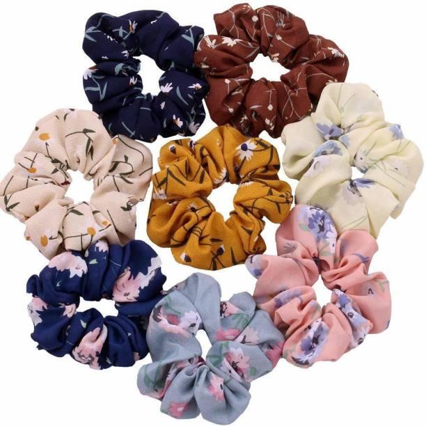 Rapid Hair Scrunchies Chiffon Elastic Floral Hair Bands Rubber Band (Multicolor) 4 PCS Makeup Headband