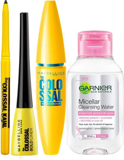 MAYBELLINE NEW YORK Sara's Eye Makeup Favourites ( Colossal Kajal, Colosal Bold Liner and Colossal Waterproof Mascara with Micellar 50ml Free )