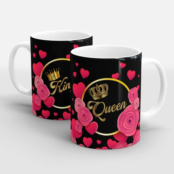 """Dreamcart King Queen"""" Printed Couple Cup, Coffee/Tea Cup set Ideal for Husband & Wife,Father Mother gift,Couple,Lovers Ceramic Coffee (330 ml, Pack of 2) Ceramic Coffee Mug"""