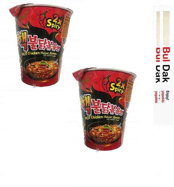 Samyang 2xspicy Buldak Hot Chicken Rice Noodles -70gm With Chopstick (Pack of 2) (Imported) Cup Noodles Non-vegetarian